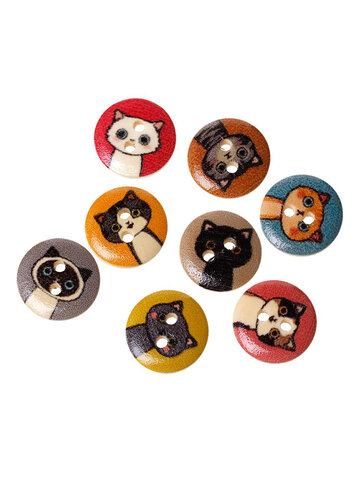 100Pcs 15MM Printed Cute Cat Pattern Wooden Button