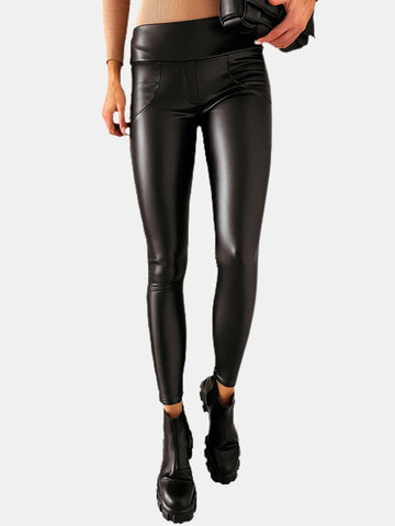 Solid Color Leather Legging