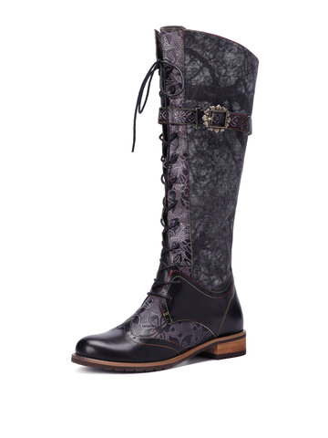Socofy Leather Knee High Flat Motorcycle Boots