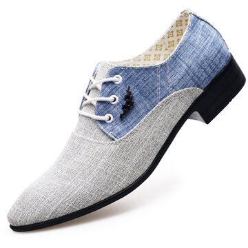 Men Canvas Splicing Pointed Toe Dress Shoes