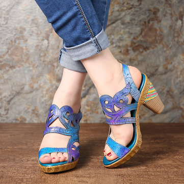Gradient Color Leather Sandals
