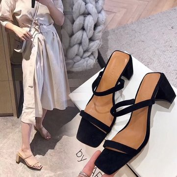 Season New Women's Shoes One-word Open Toe Thick With Sandals Female Fashion Large Size Sandals And Slippers Women