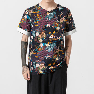Mens Breathable Cotton Linen Ethnic Style Floral Printed T-S