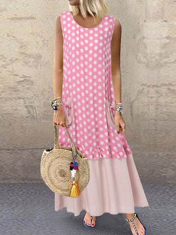 Summer Polka Dot Patchwork Dress