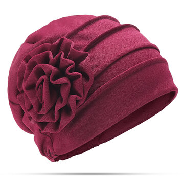 Women New Side Paste Large Flower Beabies Cap