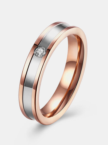 Stainless Steel Ring Couple Zircon Sweet Ring