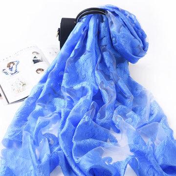 Plus Size Artificial Silk Scarf Elegant Summer Thin Scarf