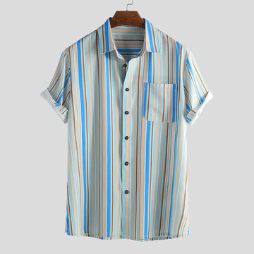 Mens Holiday Stripe Loose Short Sleeve Shirt