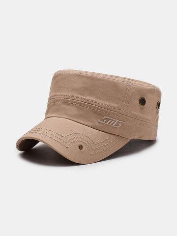 Chapeau plat en coton brodé Casquette militaire de couleur unie pour l'extérieur