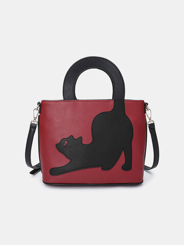 Damen Katze Muster Handtasche Umhängetasche