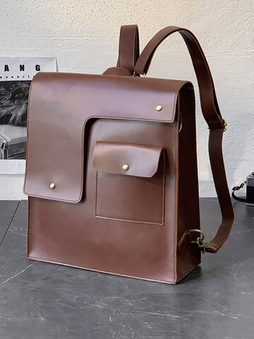 Retro Crazy Horse PU Leather Backpack Business Travel Casual Bag Backpack