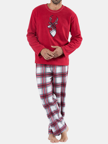 Christmas Deer Thermal Fleece British Plaid Pajamas