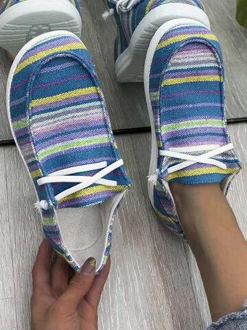 Zapatos planos con cordones de leopardo con estampado de rayas