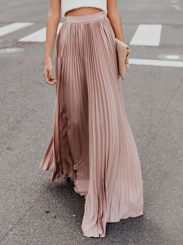 Pleated Solid Color Maxi Skirt