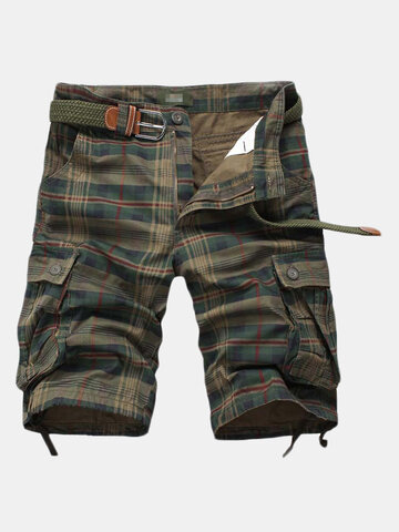 Multi-pocket Cotton Plaid Knee Length Shorts