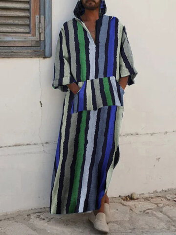 Ethnic Striped Long Sleeve Loose Casual Robes