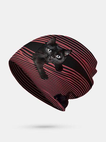 Women Plus Velvet Cat Print Stripe Pattern Soft Beanie Hat