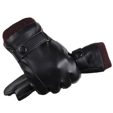Hommes Femmes Full-Finger PU En Cuir Écran Tactile Gants Épais Hiver Chaud Extérieur En Plein Air Mitaines