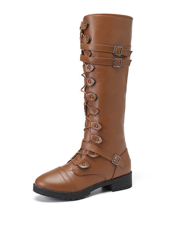 Cross Strap Knee High Riding Boots