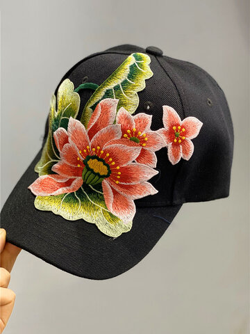 Women Embroidered Printed Feather Baseball Cap