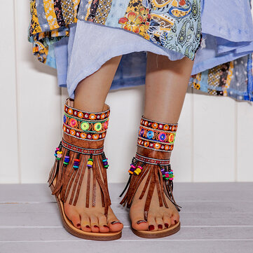 Embroidery Comfy Clip Toe Flat Sandals