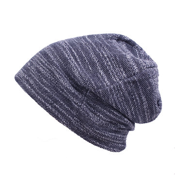 Mens Women Cotton Outdoor Slouch Beanie Hat Pure Color Knitted Striped Elastic Cap, Black