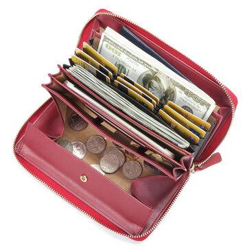 Brenice RFID Cowhide Zipper Long Wallets Large Capacity Bags