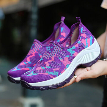 Breathable Mesh Slip On Platform Sneakers