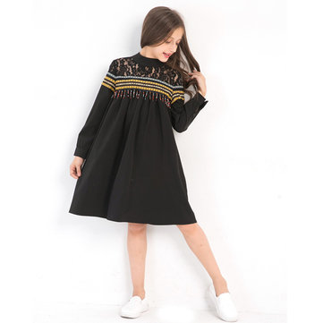 Girls Tassel Lace Patch Dress For 6Y-15Y