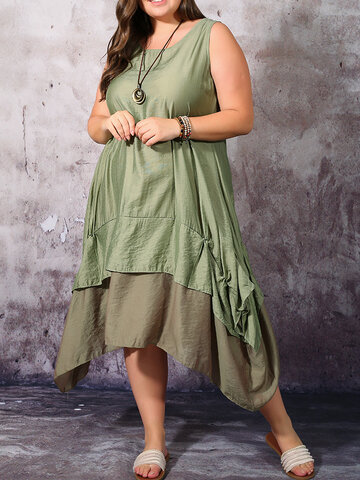 Color Contrast Patched Tank Top Dress