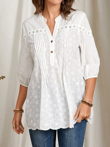 Button Lace Patchwork Pleated Blouse
