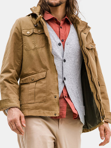 Men's Military Hooded Loose Tooling Jacket
