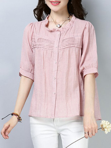 Pleated Solid Color Casual Blouses, Pink