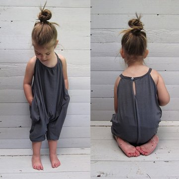 Girls Backless Jumpsuit For 3Y-11Y