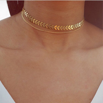 Fashion Fishbone Chocker Necklace