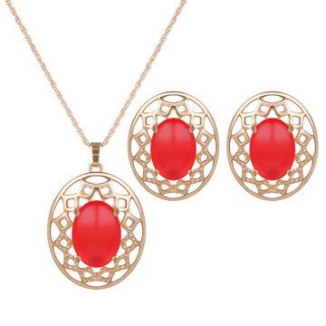 Elegant Jewelry Set Opal Hollow Oval Necklace Earrings Set