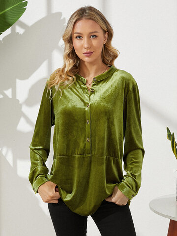 Solid Color Button Velvet Shirt