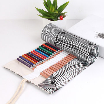 Creative Striped Growth Ring Canvas Pencil Case Roll Up Pen Brushes Storage Bag