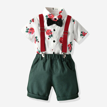Boy's Floral Print Birthday Gentlemen Suit For 2-10Y