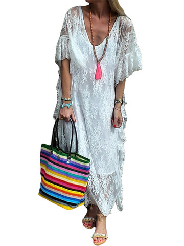 Bohemian Lace Embroidery Maxi Dress
