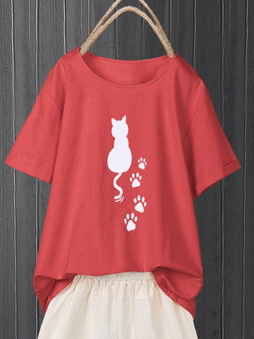 Print Cartoon Katze Kurzärmliges T-Shirt