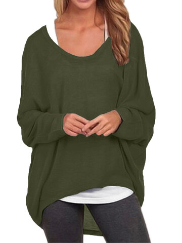 Casual Asymmetrical Solid Color Blouse