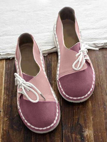 Soft Splicing Lace Up Flat Loafers