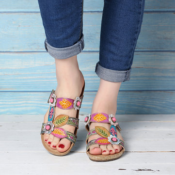 Hand Painted Leather Retro Gems Sandals