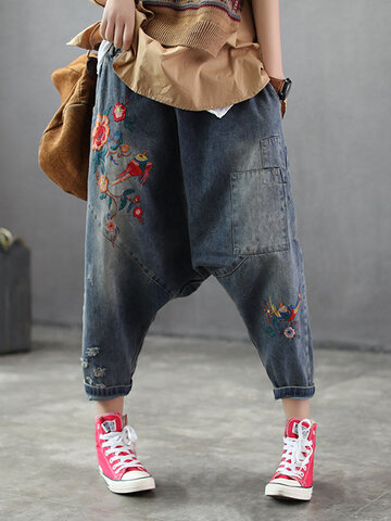 Embroidered Ripped Harem Jeans