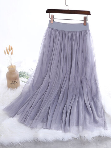 Pure Color Puff Skirt Gauze Skirts