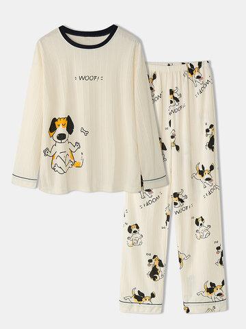 Ribbed Dog Printed Long Sleepwear Sets