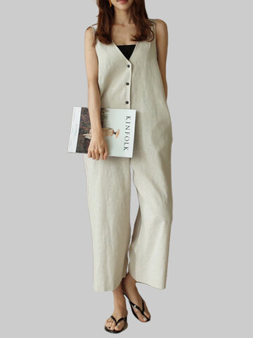 Button V Neck Jumpsuit