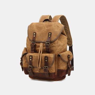 Men Genuine Leather Waterproof Backpack