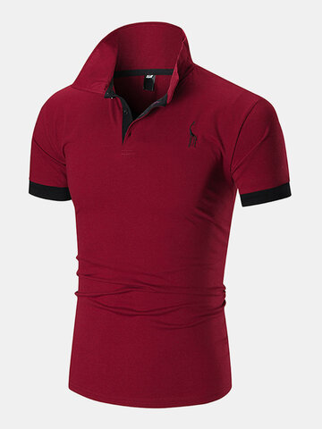Deer Chest Embroidery Golf Shirts